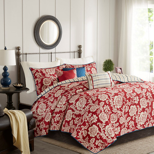 6pc Red Ivory & Blue Floral Coverlet Quilt Set AND Decorative Pillows (Lucy-Red-cov)