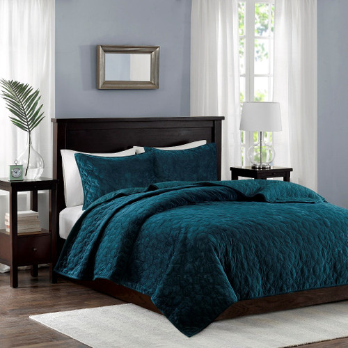 3pc Teal Velvety Soft Geometric Stitch Coverlet Quilt AND Decorative Shams (Harper-Teal-cov)