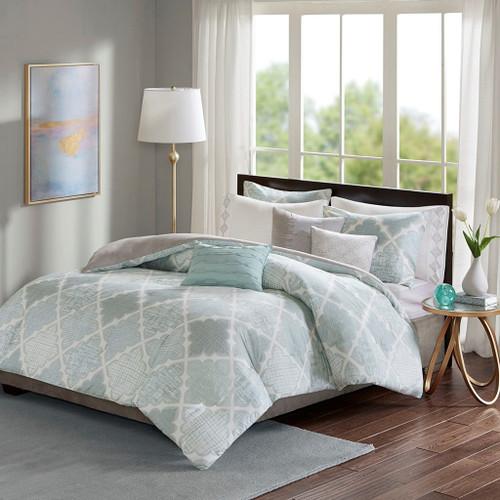 8pc Aqua & Grey Geometric Cotton Duvet Cover Set AND Decorative Pillows (Cadence-aqua-duv)