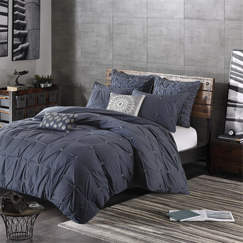 3pc Navy Blue & Grey 200TC Cotton Duvet AND Decorative Shams (Masie-Navy-duv)