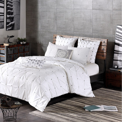 3pc White & Grey 200TC Cotton Duvet AND Decorative Shams (Masie-White-duv)