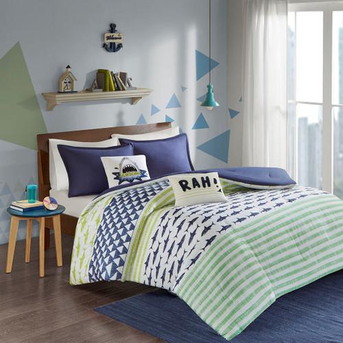 Blue & Green Sharks & Stripes Comforter Set AND Decorative Pillows (Finn-Green/Navy)