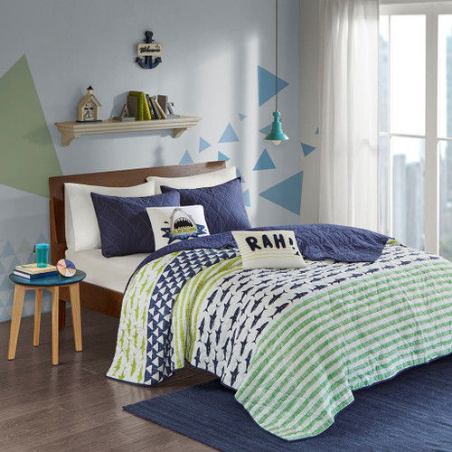 Blue & Green Sharks & Stripes Coverlet Set AND Decorative Pillows (Finn-Green/Navy-cov)