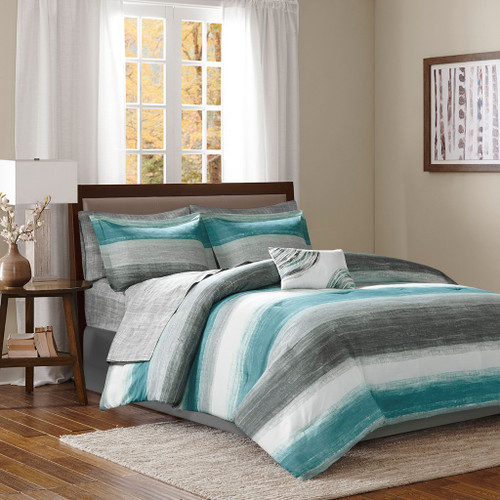 Aqua Grey & White Stripes Comforter Set AND Matching Sheet Set (Saben-Aqua)