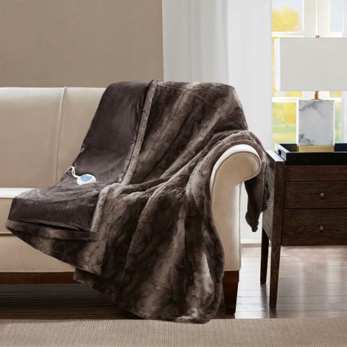"Luxury Oversized Heated Reversible Faux Fur Throw - 50"" x 70"" - 3 Settings (Zuri Oversized Heated-Throw)"