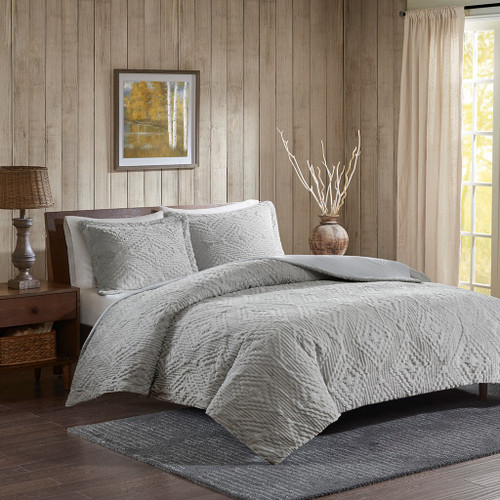 3pc Grey Embroidered Plush Coverlet Quilt AND Decorative Shams (Teton-Grey-cov)