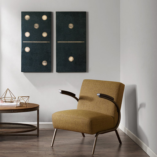 Two Black Dominos Black 2 Piece Set Gel Coat Printed on Canvas (Two Black Dominos -Black -Art)