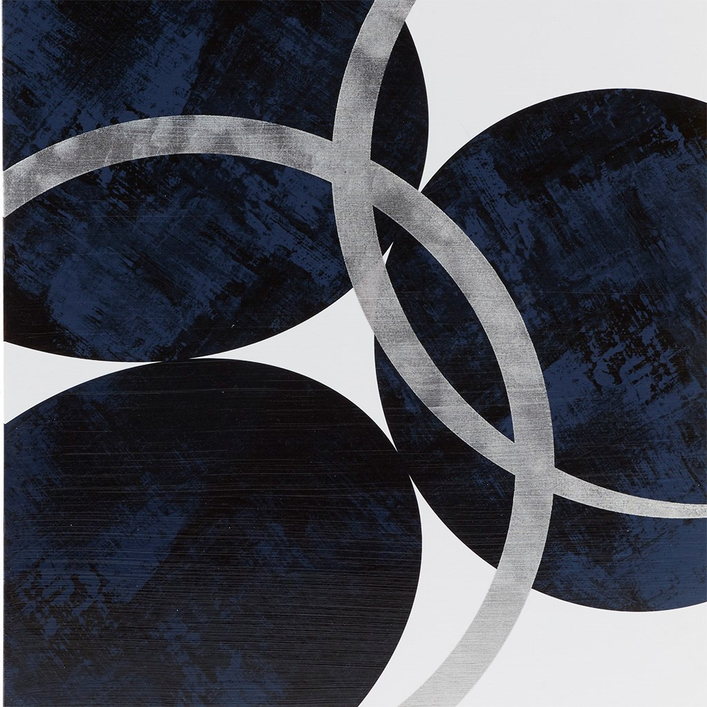 Celestial Orbit Navy Gel Coated and Silver Foil Canvas (Celestial Orbit -Navy- Art)