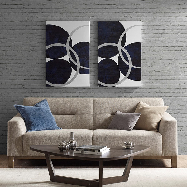 2pc Oversized Navy Blue & Metallic Silver Celestial Orbit Canvas Wall Art (Celestial Orbit -Navy- Art)