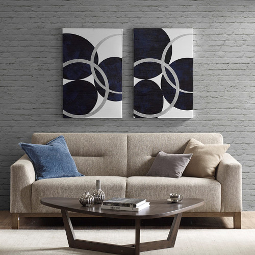 2pc Oversized Navy Blue & Metallic Silver Celestial Orbit Canvas Wall Art (Celestial Orbit -Navy- Art)