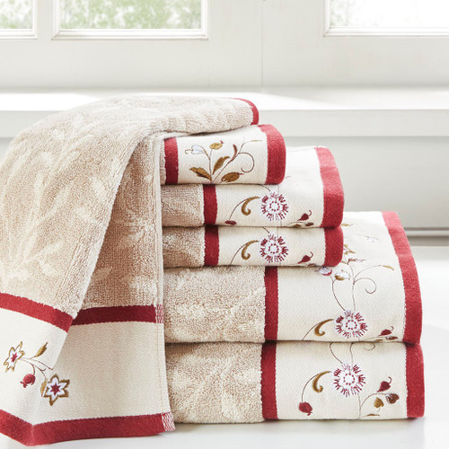 6pc Taupe & Red Floral Embroidered Cotton Jacquard Bath Towel Set (Serene-Red-Towels)