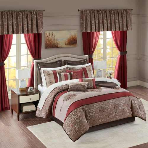 24pc Red & Brown Embroidered Comforter Set, Sheets, Pillows, Curtains AND More (Delaney-Red)