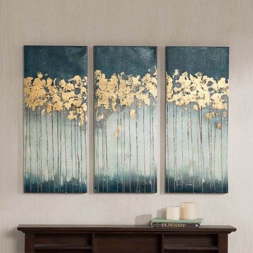 Midnight Forest Teal Gel Coat Canvas with Gold Foil Embellishment (Midnight Forest -Teal-Art)