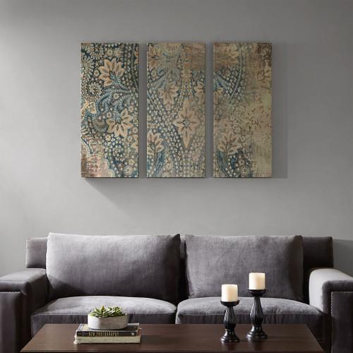 Weathered Blue Damask Walls Printed Linen 3 Piece Set (Weathered -Blue-Art)