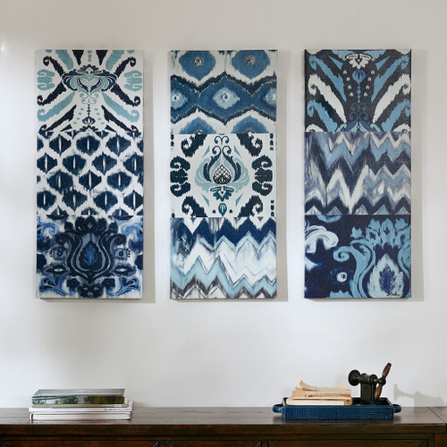 Flourish Ikat Blue Gel Coat Canvas 3pcs Set (Flourish Ikat -Blue-Art)