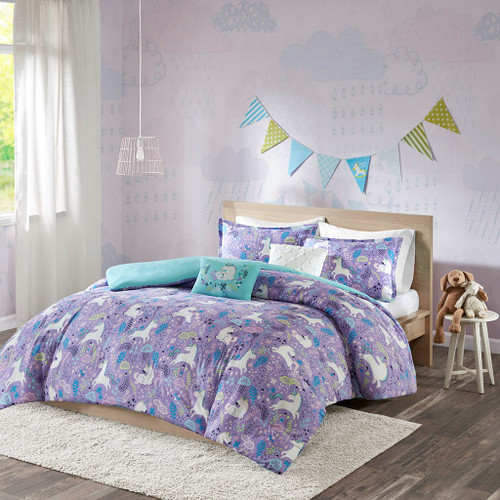 Purple & Aqua Blue Reversible Unicorns Duvet Set AND Decorative Pillows (Lola Unicorn-Purple-duv)