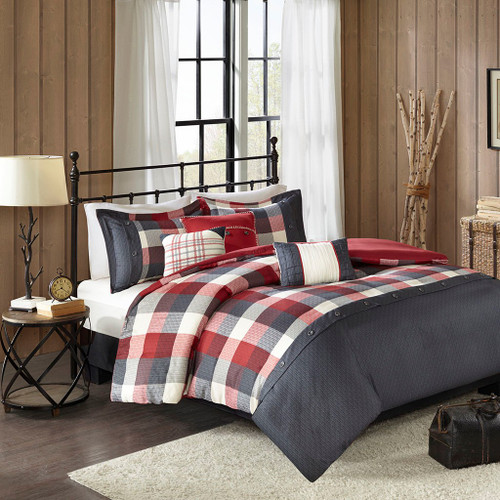 6pc Rustic Red & Ivory Buffalo Plaid Duvet Cover Set AND Decorative Pillows (Ridge-Red-Duv)