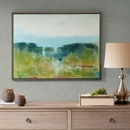 Morning Fields Blue Green Hand Embellished Framed Canvas (Morning Fields -Blue-Art )