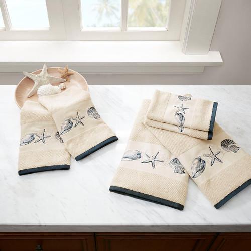 6pc Coastal Beach Blue Embroidered Cotton Jacquard Bath Towel Set (Bayside-Blue-Towels)