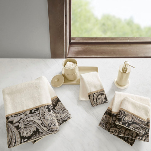 6pc Black & Taupe Paisley Cotton Jacquard Bath Towel Set (Aubrey-Black-Towels)