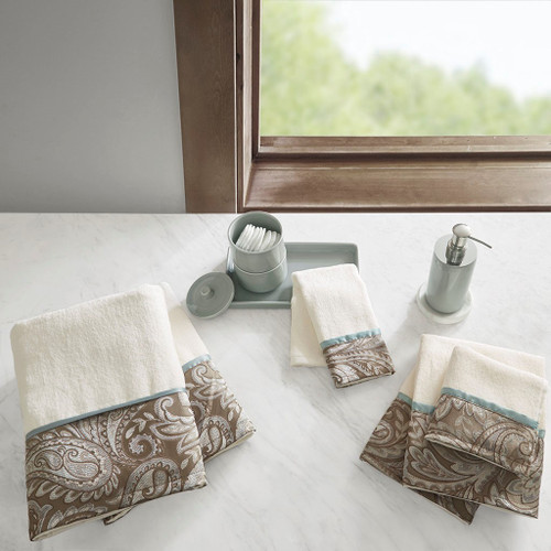 6pc Blue & Taupe Paisley Cotton Jacquard Bath Towel Set (Aubrey-Blue-Towels)