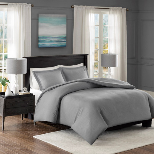 Grey Heather Weave Microfiber Duvet Cover AND Shams (Clay Yarn-Dyed-Grey-Duv)