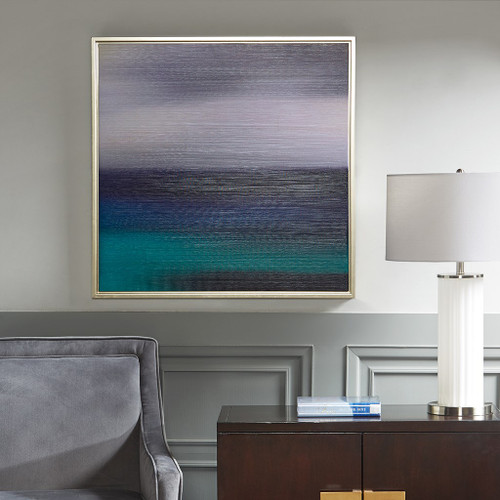 Blue & Green Abstract Seascape Framed Canvas Wall Art - 31x31""