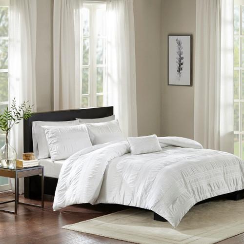 4pc White Cotton Seersucker Duvet Cover Set AND Decorative Pillow (Nicolette-White-duv)