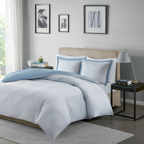 Blue & White Reversible Stripe Microfiber Duvet Cover AND Shams (Hayden-Blue-Duv)