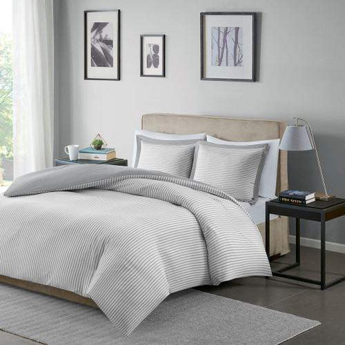 Grey & White Reversible Stripe Microfiber Duvet Cover AND Shams (Hayden-Grey-Duv)