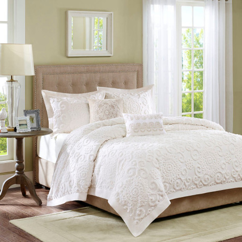 3pc Ivory Medallions & Scroll Pattern Textured Duvet Cover AND Decorative Shams (Suzanna-Ivory-duv)