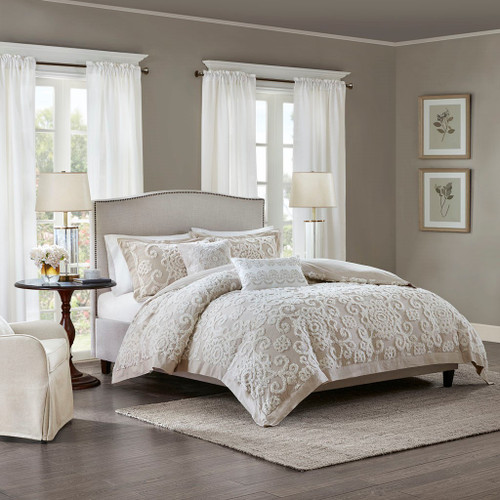 3pc Taupe Medallions & Scroll Pattern Textured Duvet Cover AND Decorative Shams (Suzanna-Taupe-duv)