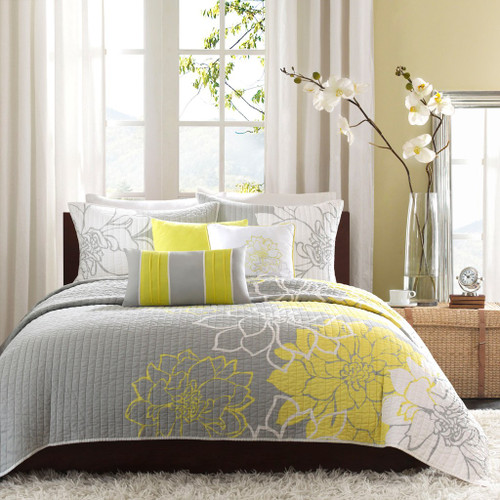 6pc Yellow Grey & White Floral Reversible Coverlet Quilt Set AND Decorative Pillows (Lola-Yellow-cov)