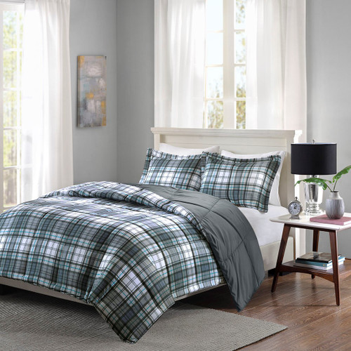 Grey & Blue Traditional Plaid Reversible Comforter AND Decorative Shams (Parkston-Grey)