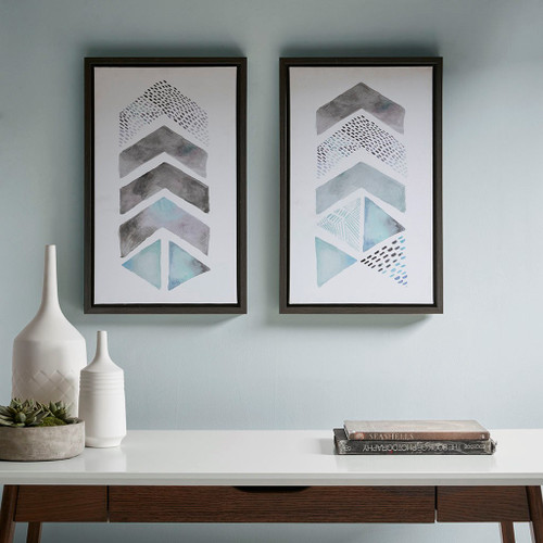 This and That Way Blue/Grey Framed Gel Coat Canvas (2pcs/set) (This and That Way -Blue/Grey-Art )