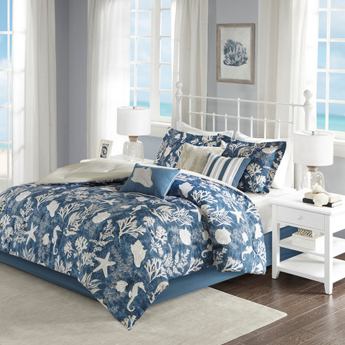 7pc Blue & Taupe Cape Cod Coastal Comforter Set AND Decorative Pillows (Cape Cod-Blue)