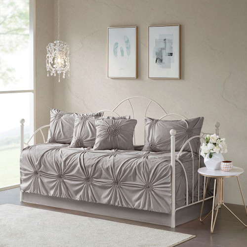 Leila Dark Grey 6 Piece Day Bed Cover Set ( Leila -Dark Grey-DB )