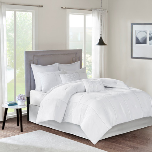 8pc White Pintucked Comforter Set AND Decorative Pillows (Codee-White)