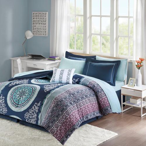 Navy Blue & Purple Large Medallion Comforter Set AND Matching Sheet Set (Loretta-Navy)