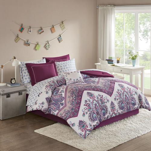 Purple Damask & Chevron Comforter Set AND Matching Sheet Set (Tulay-Purple)