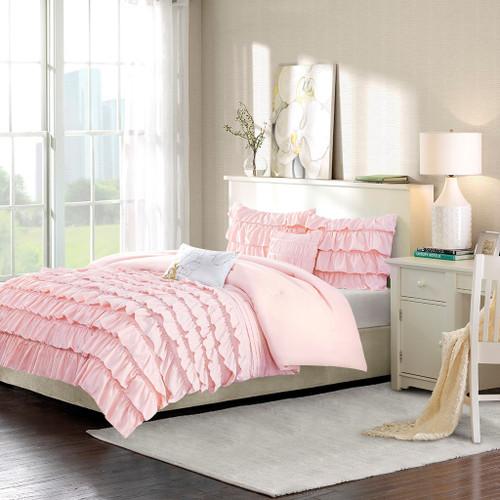 Blush Pink Reversible Flowing Ruffles Comforter Set AND Decorative Pillows (Waterfall-Blush)