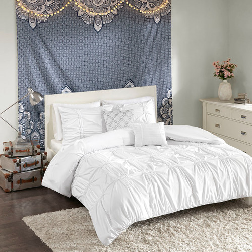 White Pleated Panels Embroidered Comforter Set AND Decorative Pillows (Benny-White)