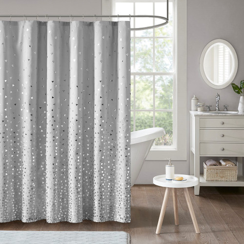Zoey Grey/Silver Printed Shower Curtain (Zoey -Grey/Silver-Shower)