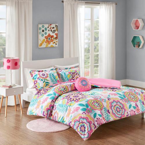 Pink & Purple Geometric Flroal Reversible Comforter Set AND Decorative Pillow (Camille-Pink)