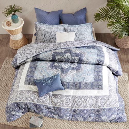 7pc Blue & White Boho Floral Reversible Comforter Set AND Decorative Pillows (Maggie-Blue)