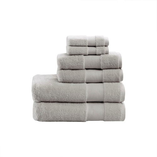 Turkish Silver 6 Piece Bath Towel Set (Turkish -Silver-Towel)