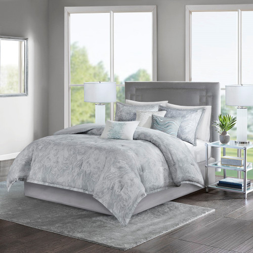 7pc Soft Grey Marble Print Comforter Set AND Decorative Pillows (Emory-Grey)