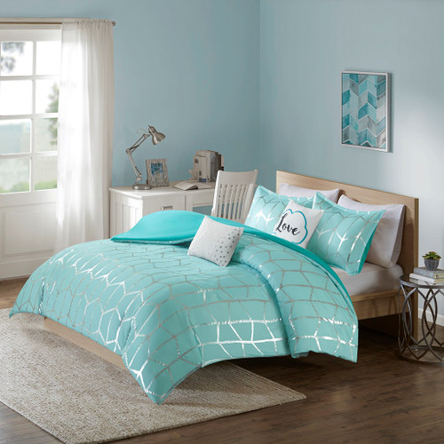 Aqua Blue & Metallic Silver Geometric Duvet Cover Set AND Decorative Pillows (Raina-Aqua/Silver-duv)