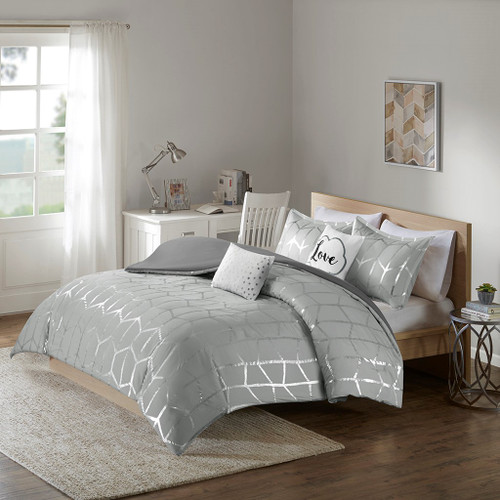 Grey & Metallic Silver Geometric Duvet Cover Set AND Decorative Pillows (Raina-Grey/Silver-duv)
