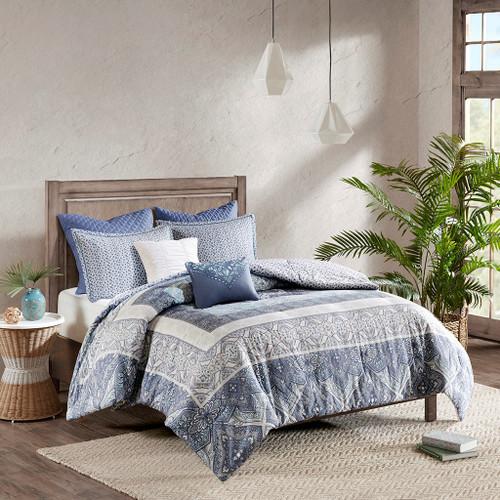 7pc Blue & White Boho Floral Reversible Duvet Cover Set AND Decorative Pillows (Maggie-Blue-duv)
